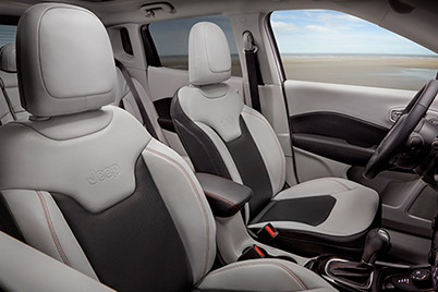 Premium heated leather-faced front bucket seats are standard on the 2017 All-New Jeep Compass